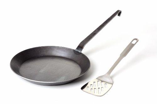 GRÄWE Schmiedeeiserne Bratpfanne aus Eisen, Ø 28 cm, Pfanne mit Hakenstiel, ohne Beschichtung, glatt, inkl. Pfannenwender
