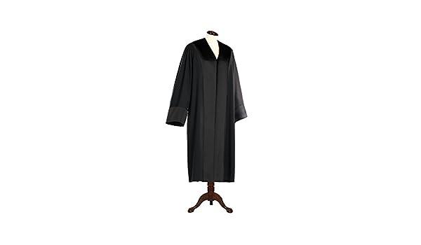 Schwarze Rechtsanwalts-//Anwaltsrobe f/ür Damen aus Reiner Schurwolle mit Atlas Besatz die Robe