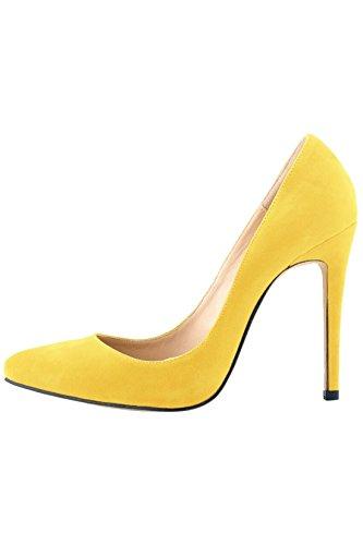 Azbro Zapatos Tacón Alto Estiletes Pu Sólido Punta-Estrecha