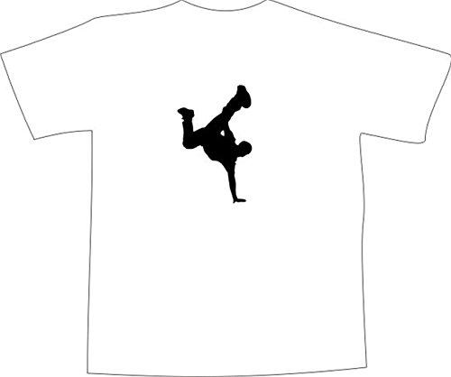 T-Shirt E124 Schönes T-Shirt mit farbigem Brustaufdruck - Logo / Comic - tanzende Person Sihlouette / Breakdance Weiß