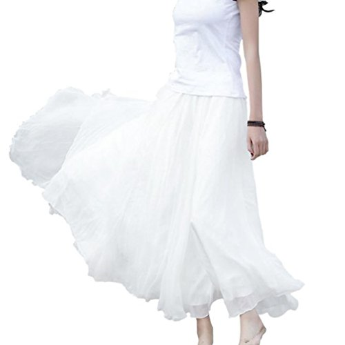 Röcke für Damen Sannysis Frau Elastische Taille Chiffon Rock Lange Maxi Beach Kleid Abendkleid Cocktailkleid Partykleid Rockabilly Kleid (Weiß) (Rosa Pencil-skirt)