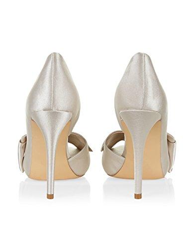 Monsoon Daphne Peeptoe-Schuhe aus Satin mit Schleife Nude