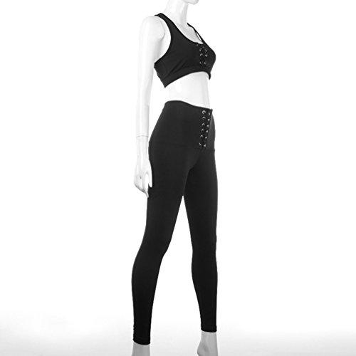 YAANCUN Femme Deux-pièces Halter Elasticity Yoga Soutien-Gorge De Sport Crop Soutien-Gorge Top + Running Gym Pantalon Serré Noir