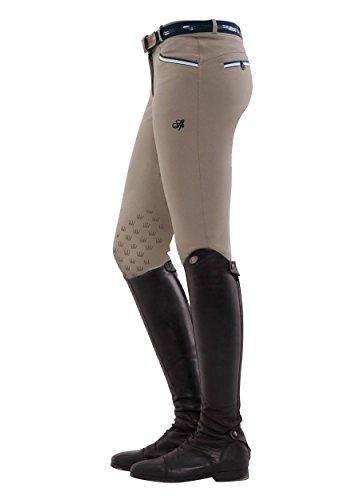 SPOOKS Reithose für Damen Mädchen Kinder, Knee-Grip-Besatz Reithosen Leggings Turnierreithose - Lucy Knee Grip - Clay M