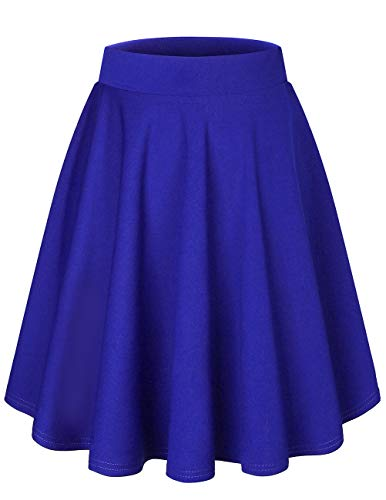 bridesmay Damenrock Basic Solid Vielseitige Dehnbaren Informell Minikleid Retro Mini Rock Faltenrock Midi-Royal-Blue M (Marines Blues Kleid Kostüm)