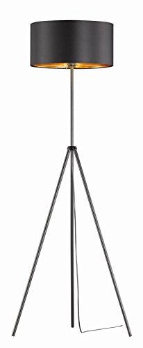 Khl LED Stehlampe Standleuchte Venedig Stoffschirm Dreifuß schwarz / Gold 9W E27 KH402732