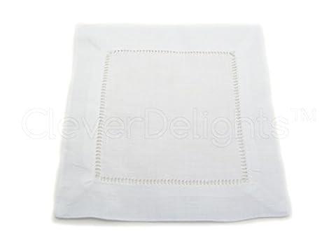 12 CleverDelights White Pure Linen Hemstitch Cocktail Napkins - 6 x 6 Ladder Hemstitch Beverage Napkins - 100% Linen 6 Inch Coaster by