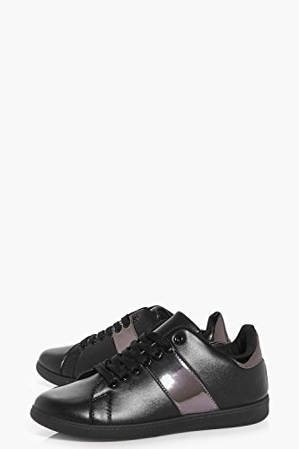 Schwarz Damen Ellie Metallic Stripe Lace Up Trainer Schwarz