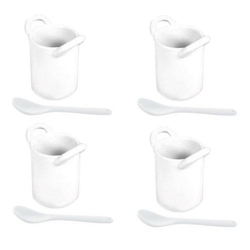 Art shopping - Ensemble de 4 minis gobelets à anses avec cuillères amuse-bouche en porcelaine 5cm x 6.5cm
