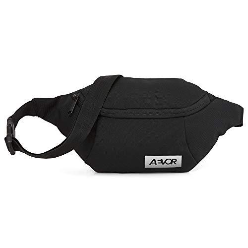 AEVOR Hip Bag - Smartphone Schnellzugriff, 2 Wege Zipper, 1l Volumen, wasserabweisend, Mesh-Innentasche, größenverstellbarer Gurt, Black Eclipse