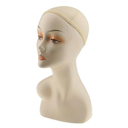 MagiDeal Lange Hals Dekokopf mit Perücke Kappen (Anti-Rutsch) weibliche Schaufensterpuppe Kopf Büste Perücke Hüte Mütze Display, Schminkkopf, elegantes Design