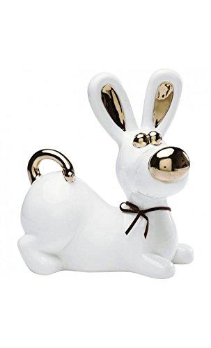 Kare Design - Statuette Chien Blanc et doré Nice Dog