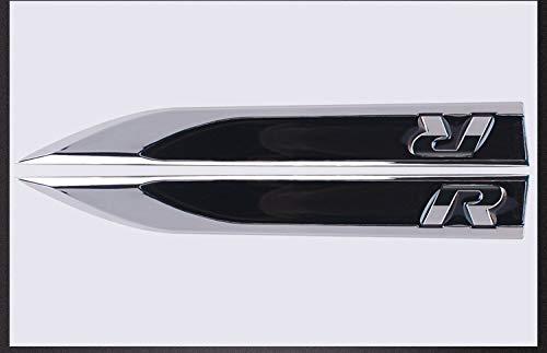 Wallner 1 Paar 3D Auto Aufkleber Seitenmetall Messer Typ Fender für VW Polo Golf 4 5 6 7 MK4 MK5 MK6 Jetta (Black)