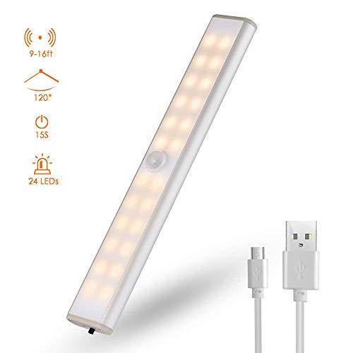 LED Luz Armario, luzarmarioledsensor 24 LED blanco cálido Luz nocturna, Lámpara nocturna...