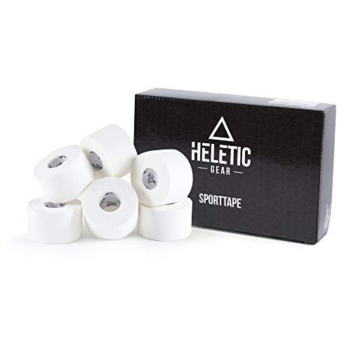 Heletic Sporttape 6 Rollen 3,8cm x 10m weiß - Tape aus 100% Baumwollgewebe mit extra starker Klebkraft, leicht abreißbar & wasserabweisend