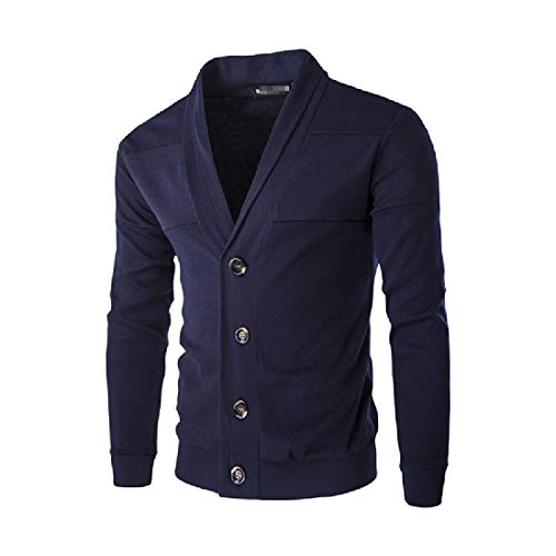 CuteRose Mens Slim Casual PEA Coat Knitting Single-Breasted V Neck Cardigan Navy Blue XL Single Breasted Peacoat
