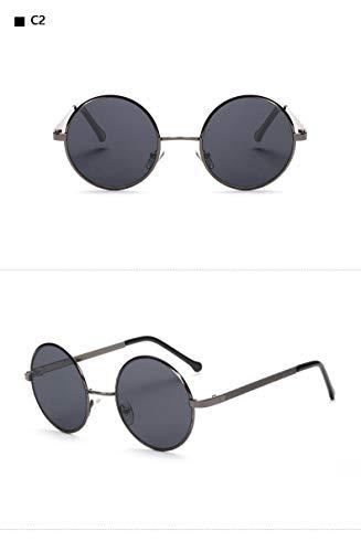 YUHANGH Übergroßen Metall Runde Steampunk Sonnenbrille Männer Frauen Mode Brille Retro Frame Vintage Sonnenbrille