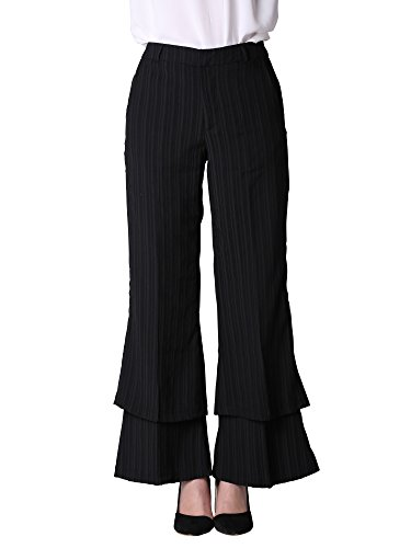 Vero Viva Ladies Palazzo Wide Leg Flared Elasticated Stretch Trousers Black Striped Double Layered Casual Plain Pants For Women