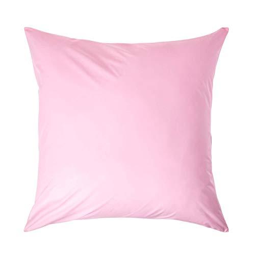 Homescapes Kopfkissenbezug rosa 80 x 80 cm - 100% reine ägyptische Baumwolle, Fadendichte 200 - Kissenhülle mit Reißverschluss -