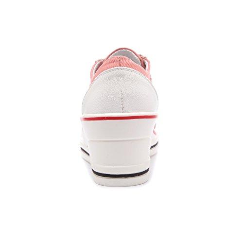 OCHENTA Femme Baskets Mode Toile Talon Compensé Chaussures de Sport Etudiant Rose