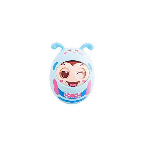 Baby-Geklapper-Spielzeug Bee Shaped Beißring Rattles Spielzeug Tumbler Design-Puppe süße Bell-Ton-Musik-Spielzeug mit Beißring Nippel Funktion wunderbares Geschenk für Little Baby Blue Design Tumbler