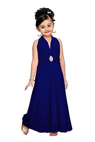 Aarika Girl's Self Design Premium Net Party Wear Gown (G-6243-D-BLUE_20_2-3 Years)