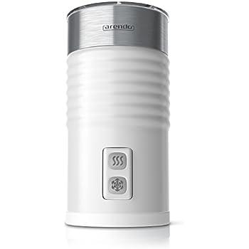 Arendo - Mousseur à lait électrique | milk frother | 2 touches pour moussage à chaud et à froid | surface Soft Touch | avec revêtement anti-adhésif | blanc