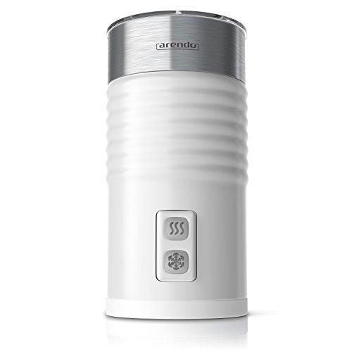 Arendo - Espumador de leche milkloud automático | Diseño inoxidable de pared doble| 2 botones para espumar en frío y en caliente | Superficie suave | Protección contra el sobrecalentamiento mediante función de apagado automático | 365-435 W | Revestimiento antiadherente| Estación base giratoria 360 ° | blanco / plateado