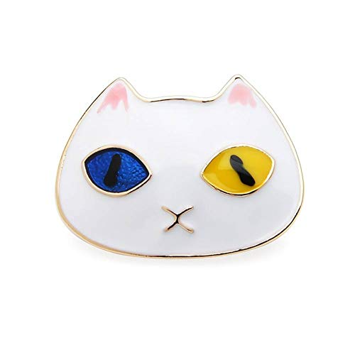 Einfach Gesicht Kostüm Katze - CCJIAC Emaille Katze Broschen Frauen Männer weiße Katze Gesicht Brosche Pins Geschenke