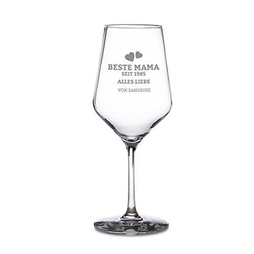 AMAVEL - Weißweinglas - Weinglas mit individueller Gravur - Beste Mama seit - Alles Liebe - Personalisiert mit [Jahr] und [Namen] - Geschenkideen für Mütter - Muttertagsgeschenk – Geburtstagsgeschenk