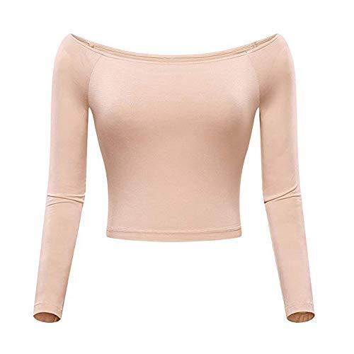 MYMYG Damen Crop Tops Off-Shoulder Slash Neck für Frauen Solides langärmliges Top ausgestattetes Hemd Navel-Bluse O-Ausschnitt Pullover Damenbluse ()