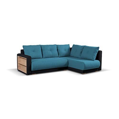 mb-moebel Ecksofa mit Schlaffunktion Eckcouch mit Bettkasten Sofa Couch Wohnlandschaft L-Form Polsterecke Pella (Türkis + Schwarz, Ecksofa Rechts)