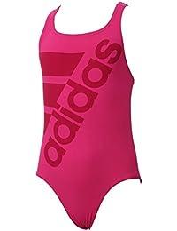 f2dfea2403f8d adidas Junior Girls Infinitex Swimsuit in Pink- 100% Chlorine Resistant- UPF