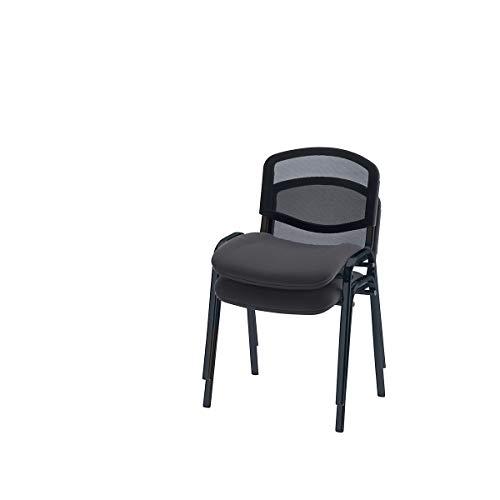 Besucherstuhl, stapelbar - Netz-Rückenlehne, Gestell schwarz - Polster anthrazit, VE 2 Stk - Besprechungsstuhl Besucherstuhl Konferenzstuhl Polsterstapelstuhl Polsterstuhl Stapelstuhl -