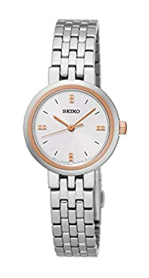 Seiko Reloj Analógico para Mujer de Cuarzo con Correa en Acero Inoxidable SRZ458P1