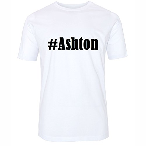 T-Shirt #Ashton Hashtag Raute für Damen Herren und Kinder ... in den Farben Schwarz und Weiss Weiß