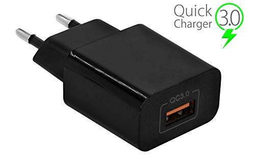 MyGadget Quick Charge 18W USB Schnellladegerät [QC 3.0] Netzteil Ladegerät Adapter für Smartphone & Tablet z.B. Samsung, HTC, LG, Sony Xperia - Schwarz