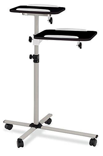 Pronomic PT-6 MKII Beamer- und Projektorwagen Beamertisch Rollwagen Medienwagen für Video-, Dia-, Overhead-Projektoren, Laptoptisch, Notebooktisch (höhenverstellbar, Ablageflächen, neigbar) schwarz