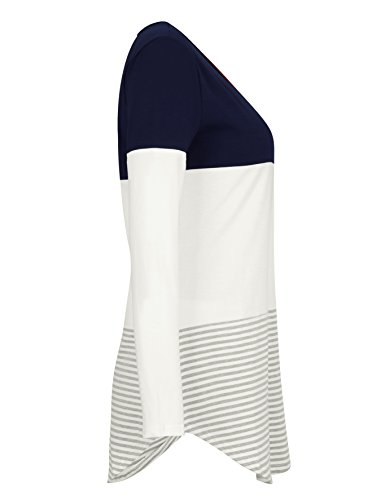 Tooklanet Top à manches longues - Tunique - Manches Longues - Femme Bleu Marine