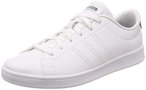adidas Damen Advantage Clean QT Sneaker, Weiß Footwear White/Noble Green 0, 42 EU