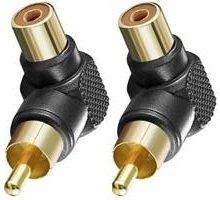 """""""BestPlug"""" 2 Stück High Quality RCA Audio Adapter Verbindungsstück / Cinch Stecker männlich auf Cinch Buchse Kupplung weiblich 90° abgewinkelt / vergoldet / Schwarz"""