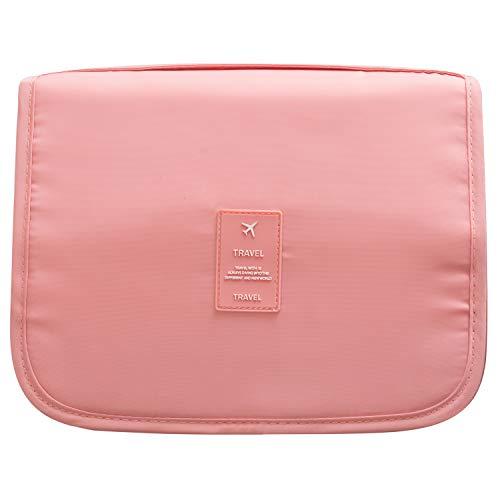 Kulturtasche zum Aufhängen Faltbarer Waschtasche Reise für Damen Wasserdicht Make up Kulturbeutel(Pink)