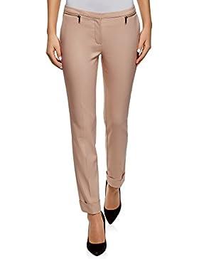 oodji Ultra Mujer Pantalones Ajustados con Cremalleras Decorativas