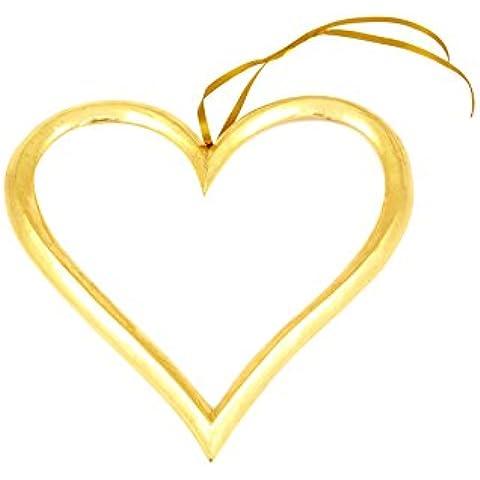 POSH Graffiti intagliato decorazione a cuore, nastro in legno, misura grande, colore: oro metallizzato