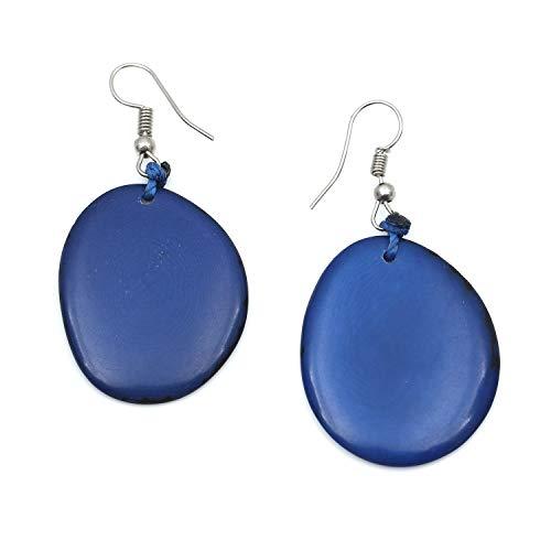Idin Tagua Ohrringe - Blaue Tagua Scheiben (Steinnuss) (ca. 6 cm) (Tagua-ohrringe)