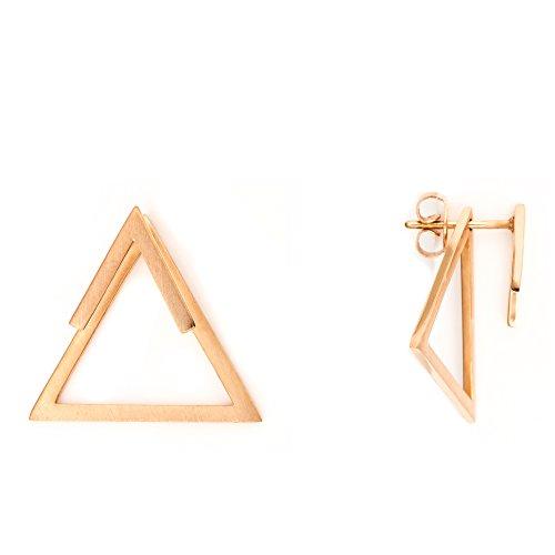 Heideman Ohrringe Damen Dreieck Triangel aus Edelstahl rosegold farbend matt eckige Ohrstecker für Frauen 2 in 1 Ohrschmuck Doppelohrringe Doppel vorne und hinten