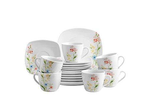 Domestic by Mäser, Serie Ontario, juego de café 18 teilig con 6 tazas, platillos y platos de postre, diseño de flores