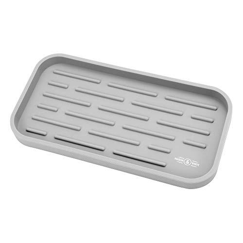 Organizer | Aufsatz-Geschirrspüler | Antibakterielle Silikonunterlage | Küchenorganisation Tablett | Waschbecken Caddy | M&W (Grau) ()