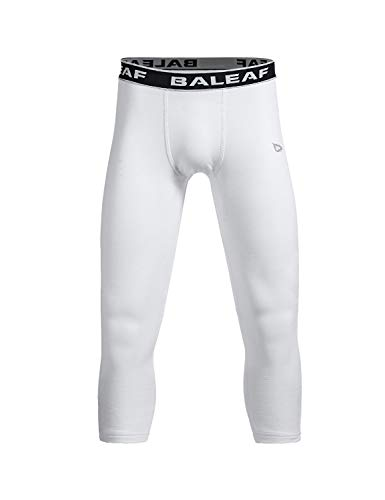 Baleaf Youth Jungen Kompressionshose 3/4 Leggings Fußball Basketball Baselayer Strumpfhose, Jungen, weiß, Youth-S(Fit Height 51\'\'-55\'\')