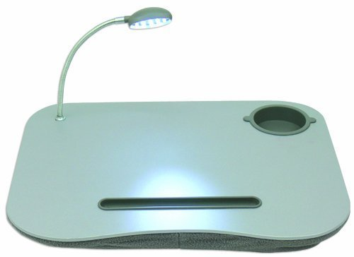 QVS Laptop Desk with Built-In Cushion, LED Light and Cup Holder by QVS - Desk Holder Laptop Cup